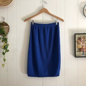 Vtg • Blue Knit Midi Skirt
